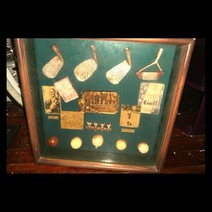 Golf shadow box style wall decor